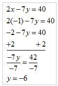 Algebraic steps for substituting -1 for x. Multiply by 2, subtract 2 and divide by -7 for a result of y = -6