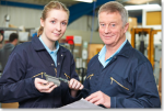 Student mechanic with her supervisor