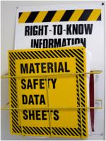 image of MSDS sheets stored in folder on wall.
