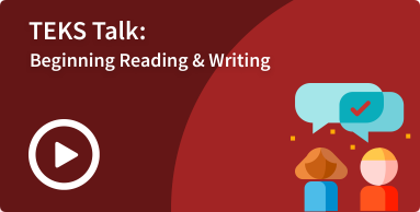beginning reading and writing Spanish strand TEKS talk image